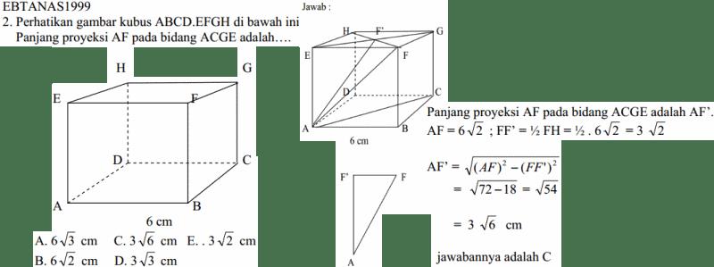 Cara Mengerjakan Soal Matematika Panjang Proyeksi Garis AF ke Bidang Diagonal ACGE Kubus bab DImensi Tiga