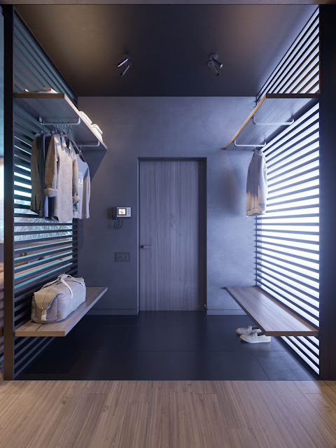 The entryway takes on a locker room look, and offers a glimpse through into the living room via the shutter wall.