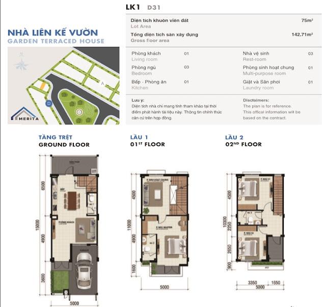 Sơ đồ nhà phố Merita 5x17m 75m Khang Điền Quận 9