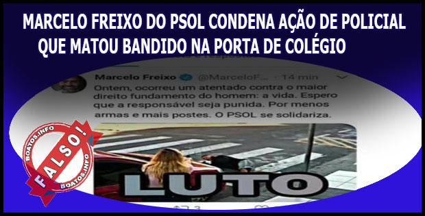 Marcelo Freixo do Psol defende bandido morto por PM - FALSO!