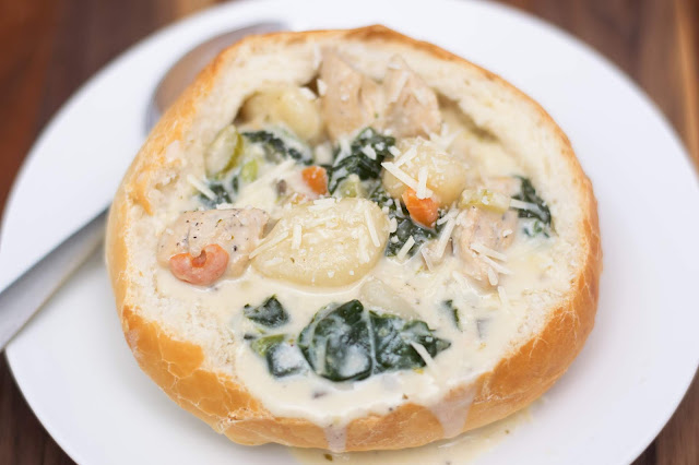The finished chicken and gnocchi soup in a bread bowl.