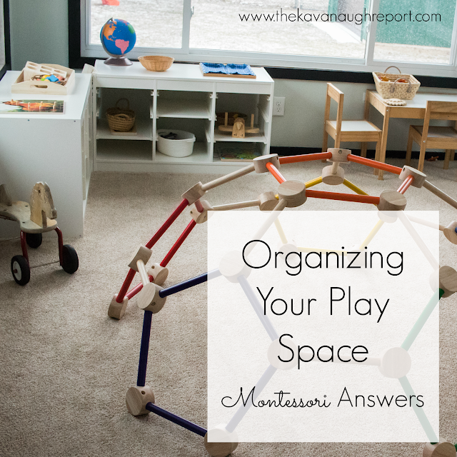 Ideas and tips for organizing your Montessori playroom. Here are some thoughts on how to make your play space accessible and organized for children.