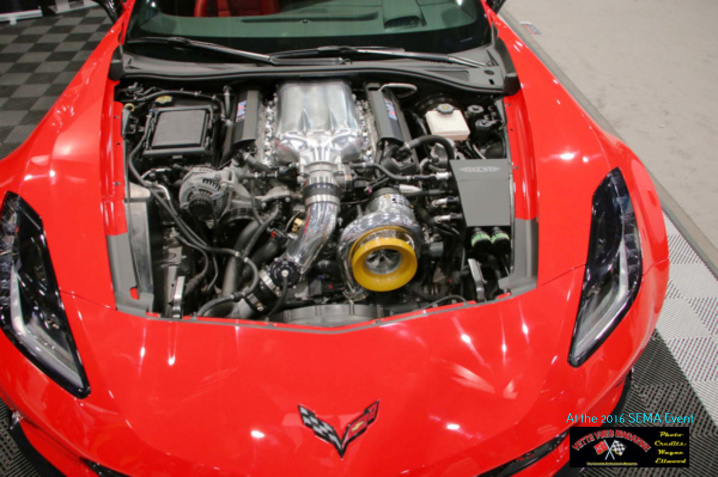 The C7 Chevrolet Corvette Power upgrades included a custom fabricated airbox and very large turbocharger provided by East Coast Supercharging. With this little bit of technology, the LT1 engine is stated to produce 700 HP and 650 lb-ft.
