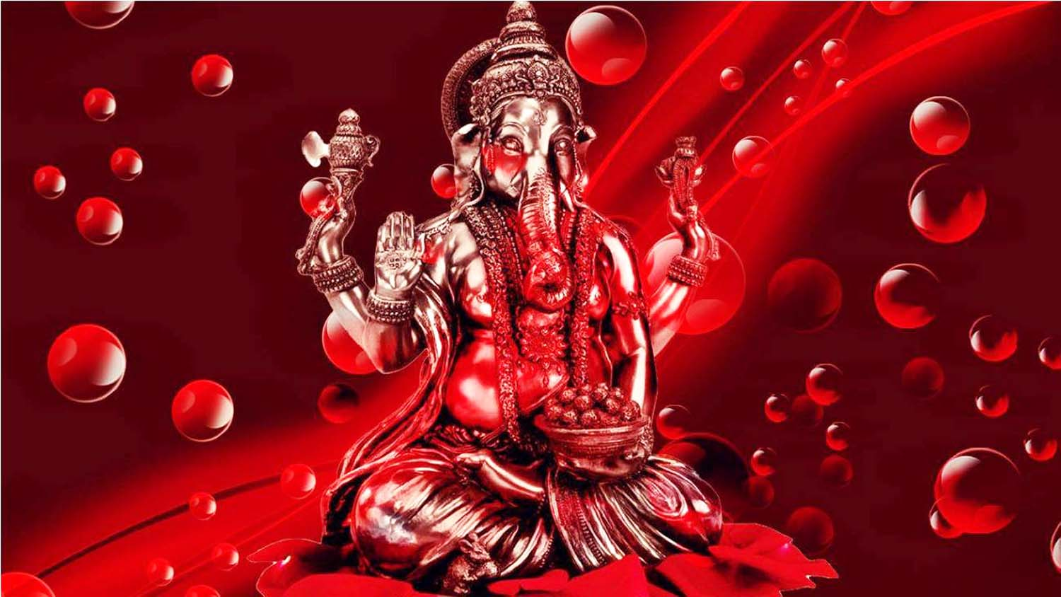 Ganesha picture in Red background!