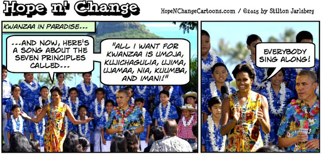obama, obama jokes, political, humor, cartoon, conservative, hope n' change, hope and change, stilton jarlsberg, christmas, vacation, hawaii