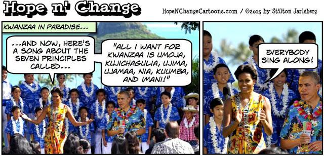obama, obama jokes, political, humor, cartoon, conservative, hope n' change, hope and change, stilton jarlsberg, christmas, vacation, hawaii
