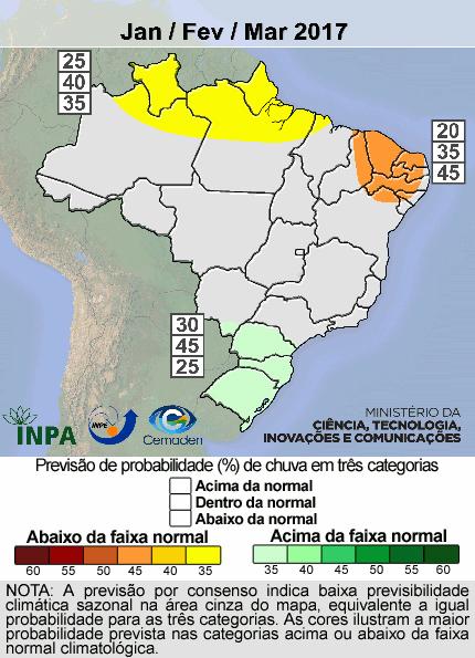 Mapa do Brasil indicando chuva abaixo do normal no Sul e em parte do Nordeste e pouco acima do normal em áreas do Norte do país