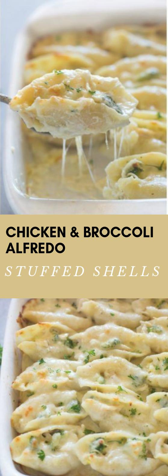CHICKEN AND BROCCOLI ALFREDO STUFFED SHELLS #eathealty  #foods