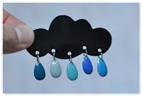 broche fantaisie nuage noir et gouttes bleues