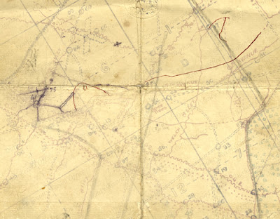 Map of Contalmaison area with annotations by Second Lieutenant Frederick Rees, 1916 (D/DLI 7/560/8)