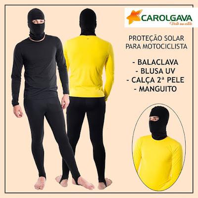 kit com proteção solar para motociclista