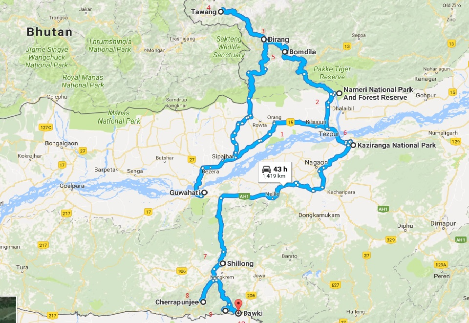 how to travel from guwahati to tawang