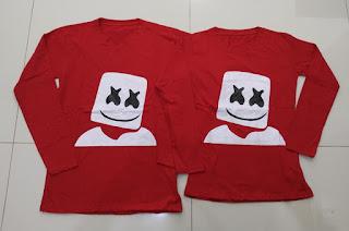 Jual Online LP Marshmello Head Couple Murah di Jakarta Bahan Combed Terbaru