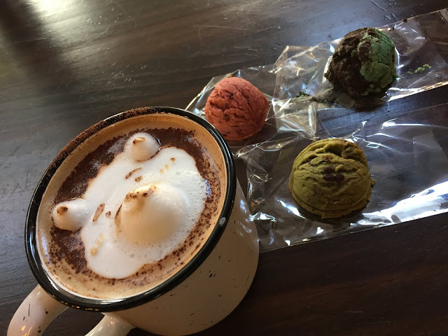 Mocha latte and scooped scones at Coffee Speaks a local coffee shop in Highland Park, Illinois