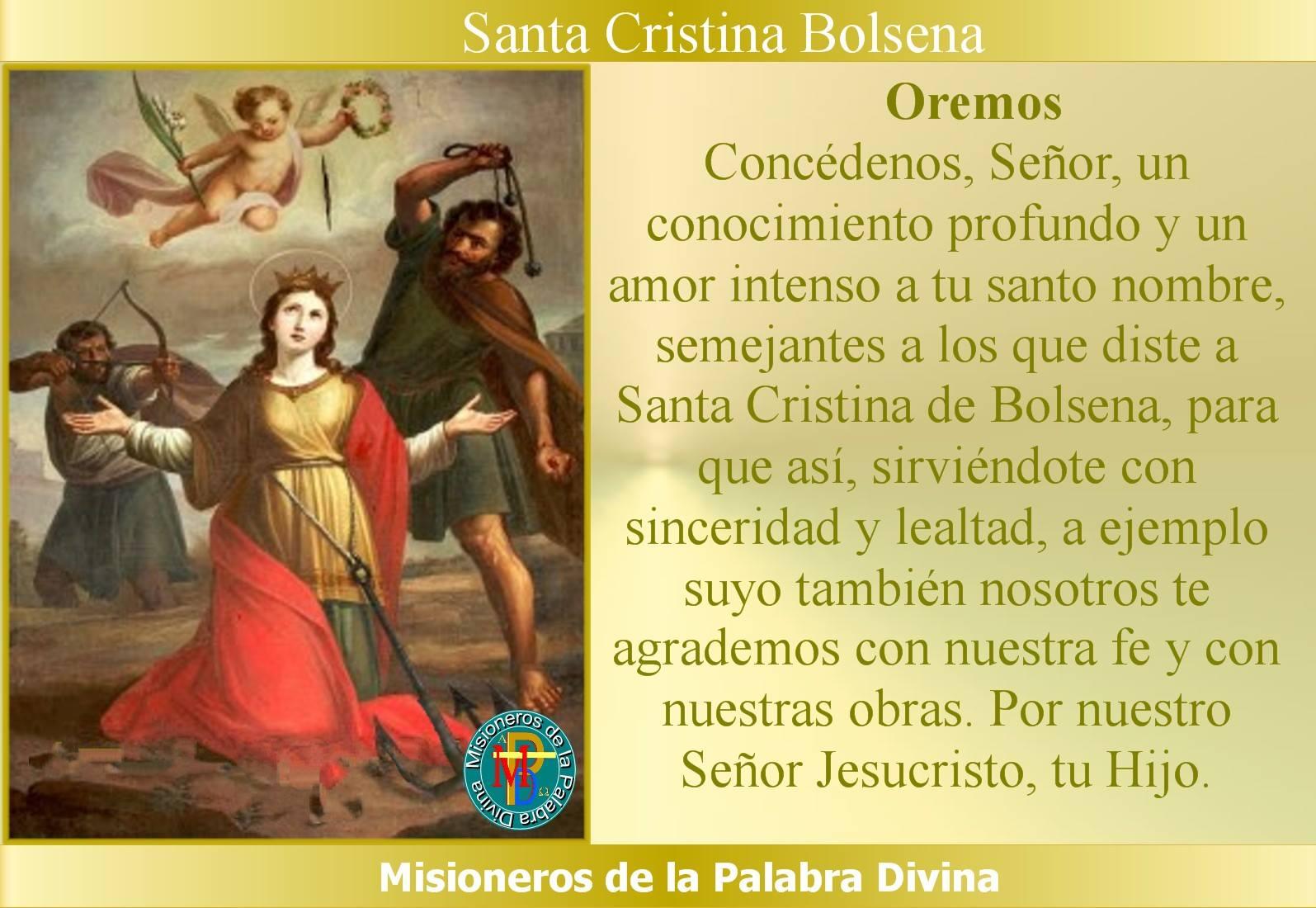2391b9392 Misioneros de la Palabra Divina  SANTORAL - SANTA CRISTINA BOLSENA