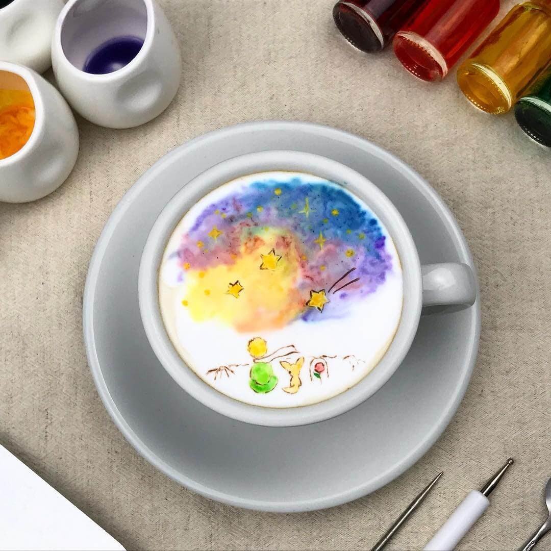 13-The-little-prince-Lee-Gwan-Bin-Famous-Paintings-in-Coffee-Food-Art-www-designstack-co