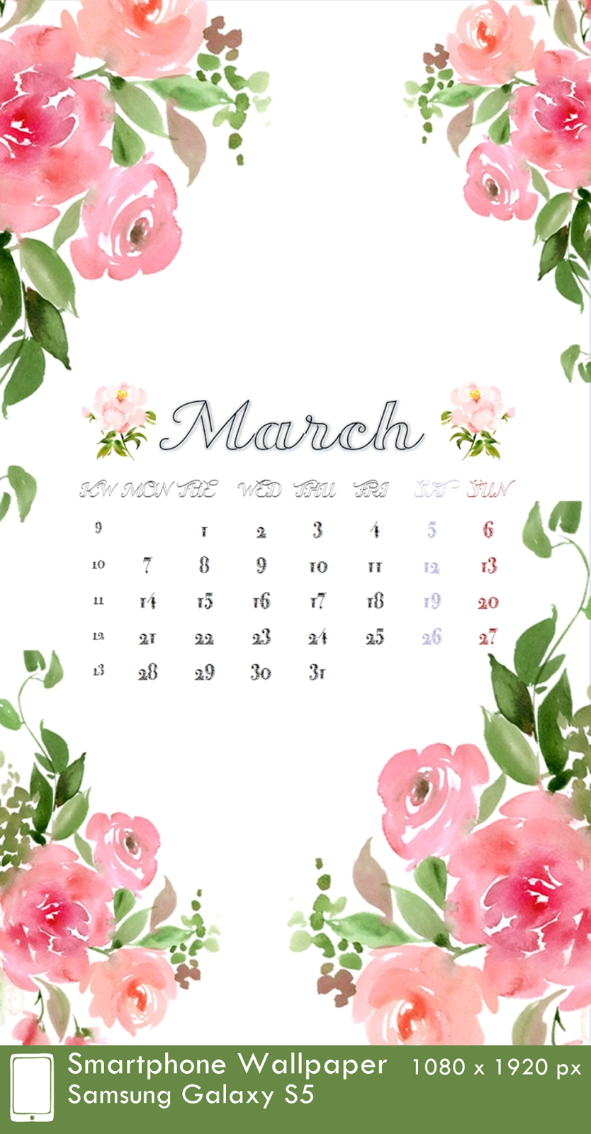 Samsung Galaxy S5 Wallpaper Calendar 3 March 1080 x 1920 px