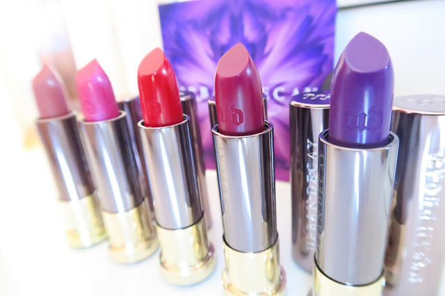 Urban Decay Vice Lipsticks In Back Talk, Big Bang, 714, Firebird and Pandemonium PLUS Swatches