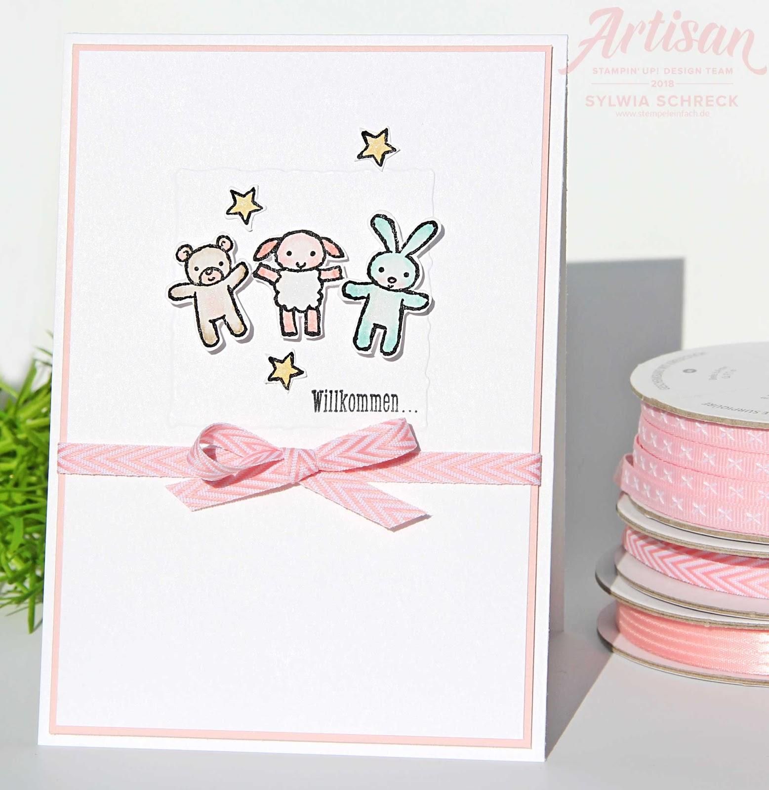 Handgemachte Babykarte Zu Hause Bei Stempel Einfach