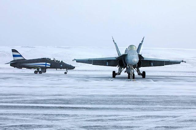 Finnish student pilots practice fight Hornet