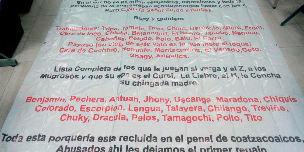 CJNG dejan narcomanta amenazando a sicarios de la contra en Veracruz.