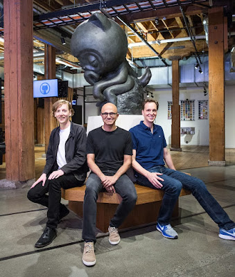 Chris Wanstrath, Github CEO and co-founder; Satya Nadella, Microsoft CEO; and Nat Friedman