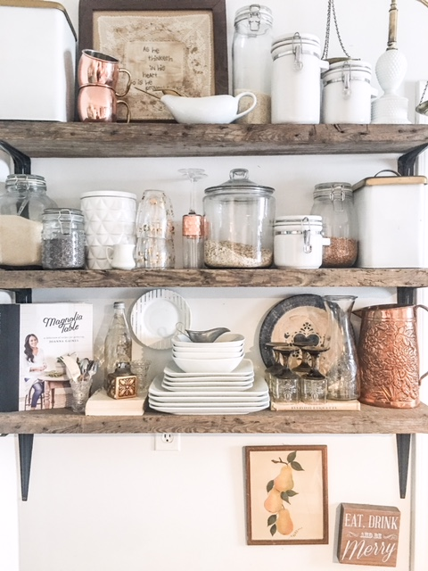 kitchen open shelving out of barn wood
