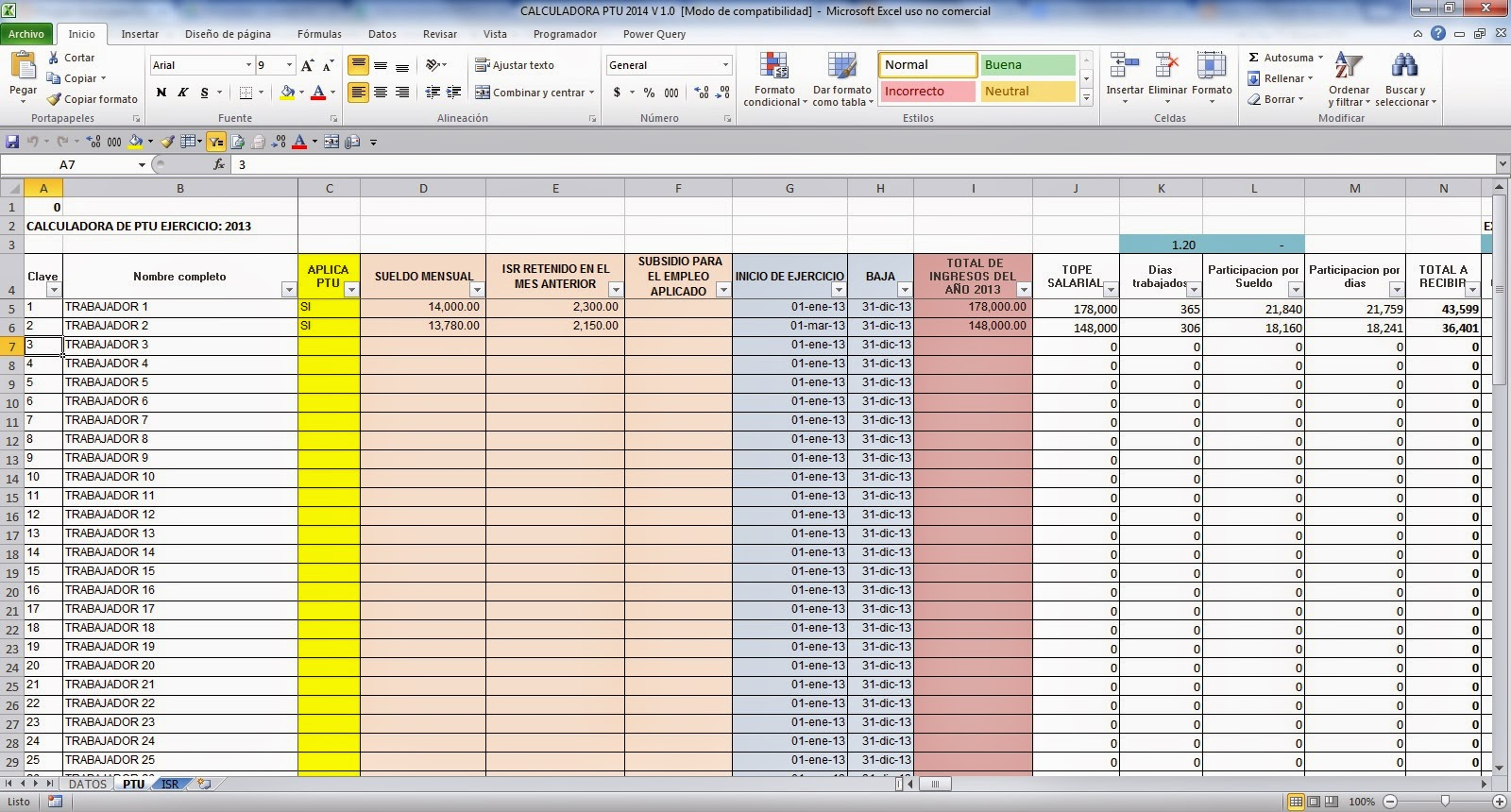 Calculadora ptu 2014 en excel gratis calculos contables for Como hacer una nomina en excel con formulas