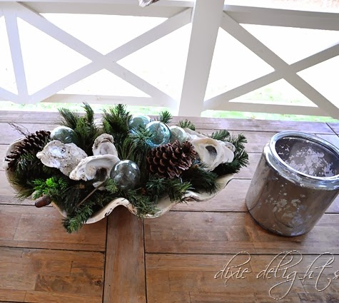 Christmas porch with clam bowl