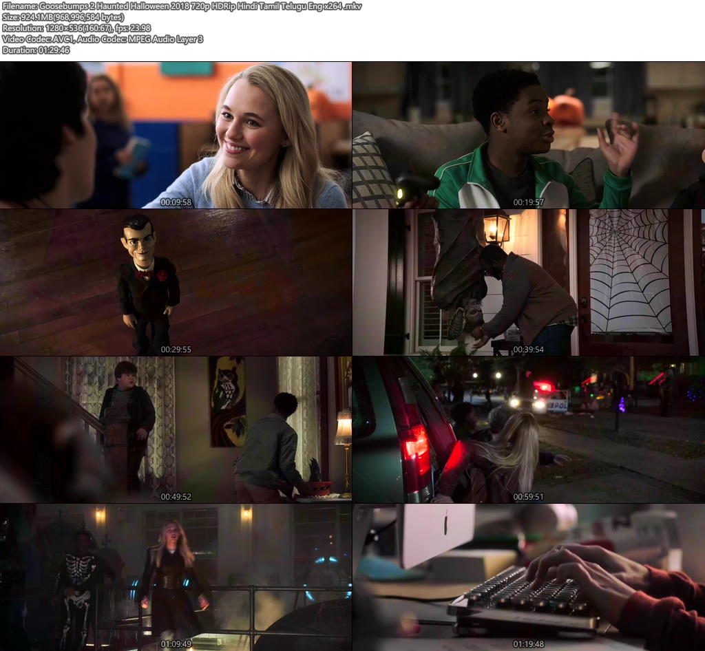 Goosebumps 2 Haunted Halloween 2018 720p HDRip Hindi Tamil Telugu Eng x264 | 480p 300MB | 100MB HEVC Screenshot