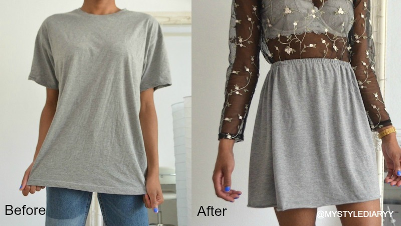 DIY CLOTHING HACK HOW TO TRANSFORM A T-SHIRT INTO A SKIRT