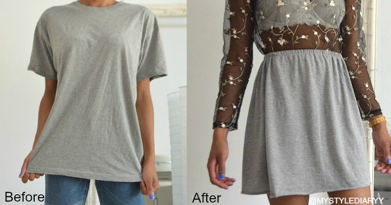 DIY CLOTHING HACK TRANSFORM A T-SHIRT INTO A SKIRT ...