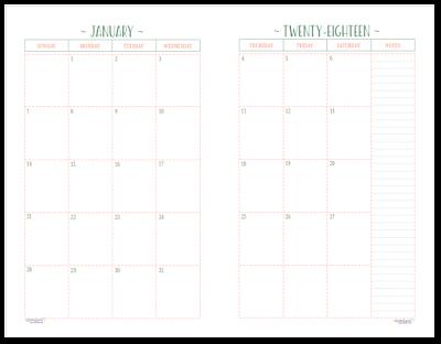 calendars for 2018