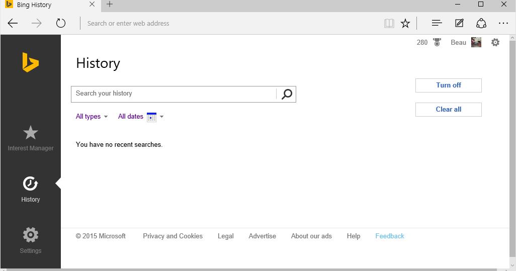 Beau Claar: How Do I Turn Off Bing Search History?