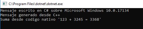 Resultado de ejecutar la aplicación en Windows