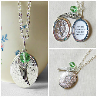 image lord of the rings locket charm necklace quote typography literature not all those who wander are lost beaded wing charm green czech glass bead two cheeky monkeys jewellery jewelry