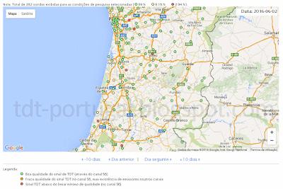 Mapa falhas sondas TDT