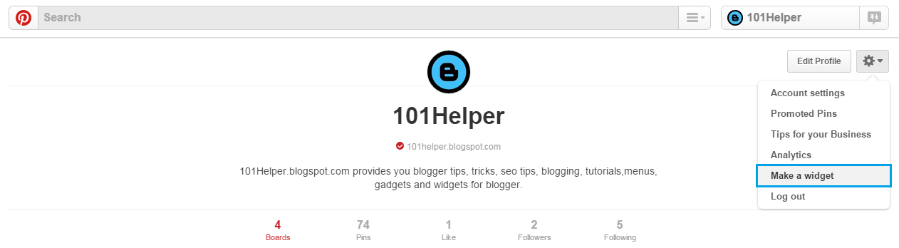 How to add pinterest follow box in blogger | 101helper