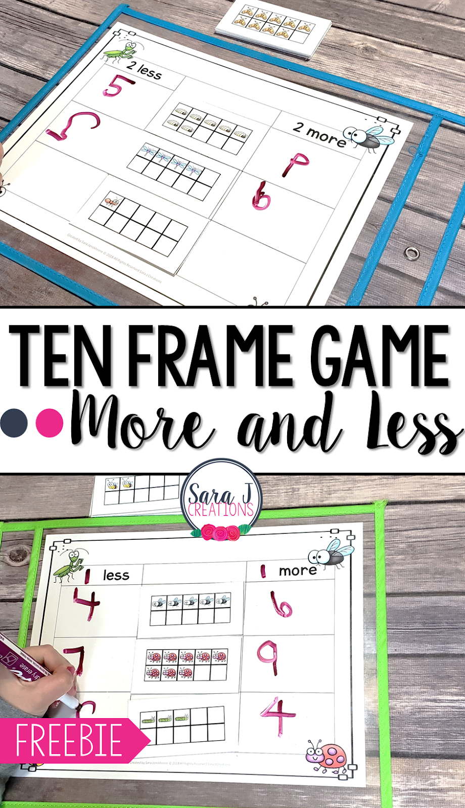 This ten frame game to practice more and less is perfect to work on number sense in kindergarten. Ideal for working on subitizing and introduction to addition and subtraction.