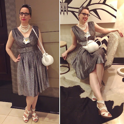 Gail Carriger Wears Silver Sparkle 1950s Cocktail Dress at Phoenix Comic Con 2018