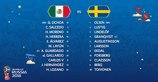 Mexico vs Sweden starting XI