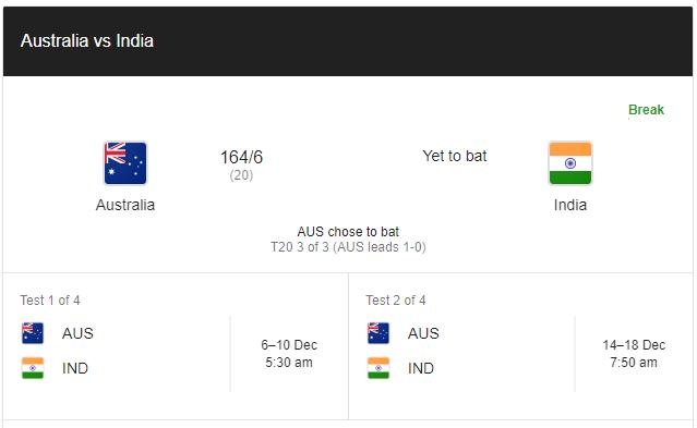 India Vs Australia First इनिंग समाप्त ऑस्ट्रेलिया ने 164 रन बनाया