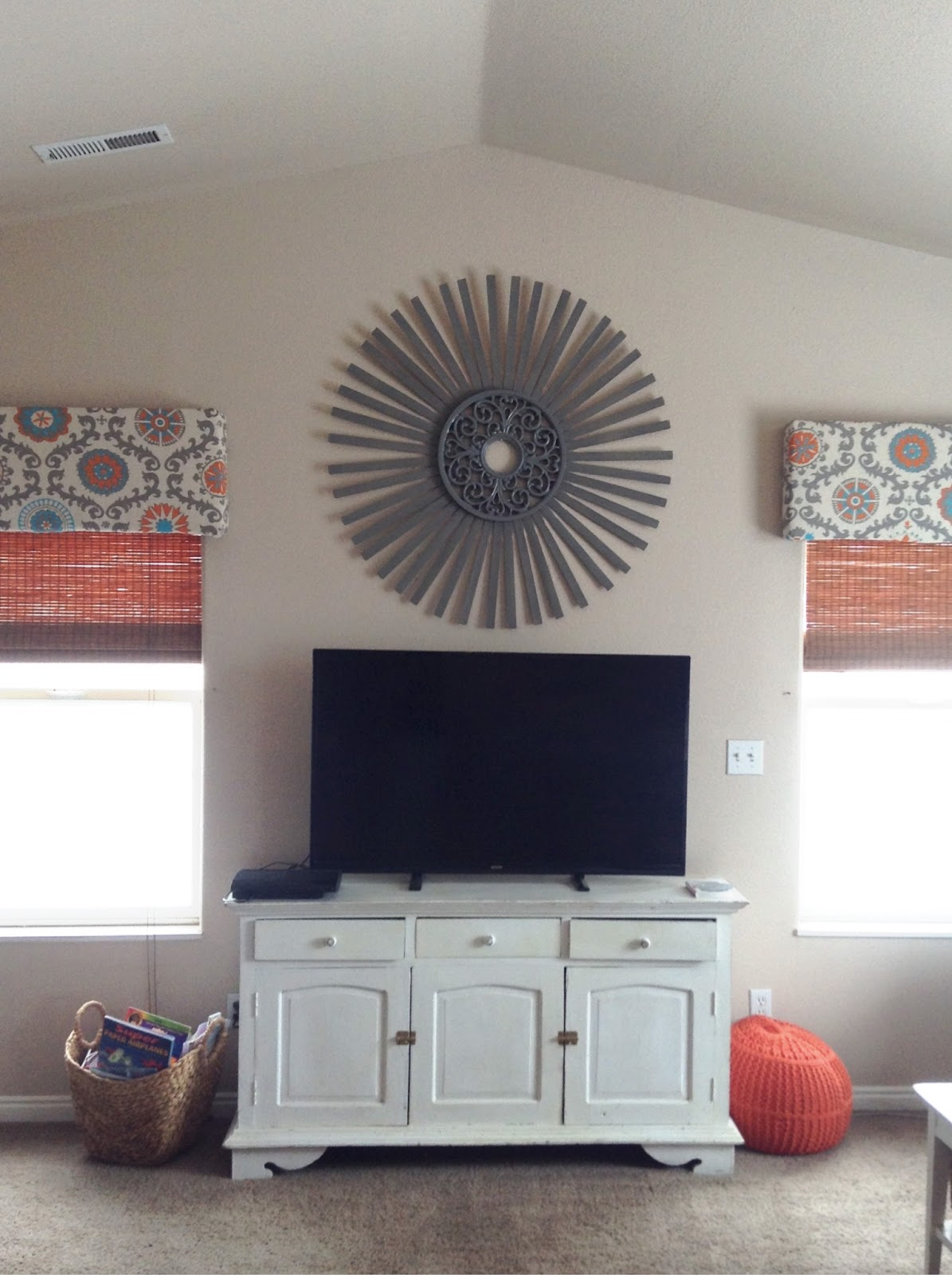 Family Room Makeover reveal- Sunburst DIY