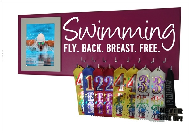 swimming swim medal ribbon award hanger holder display rack