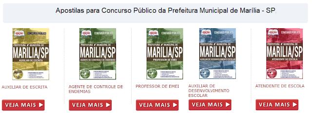Apostila Prefeitura de Marília concurso público 2017: