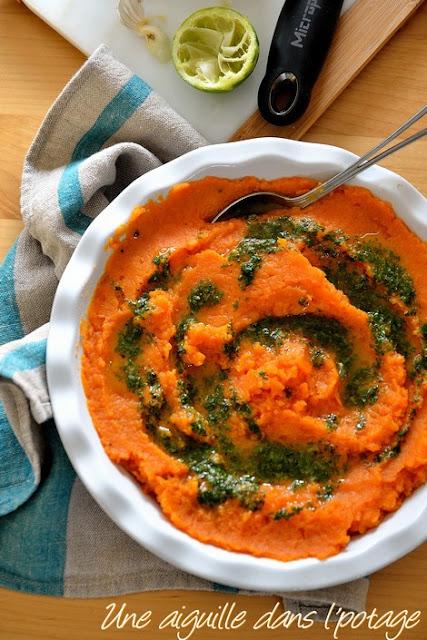 Purée de patates douce, sauce aux herbes et citron vert, d'Ottolenghi
