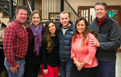 Dwain and Lana Swanson, Lauren Swanson, Josiah Duggar, Jim Bob and Michelle Duggar