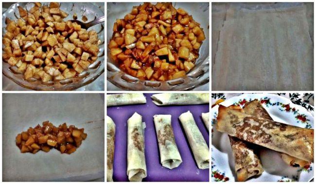 Preparación de los rollitos de manzana y canela