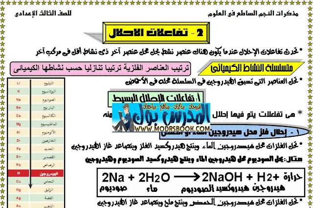 ملزمة علوم للصف تالتة اعدادي ترم ثاني 2019