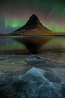 Aurora and Geminid Meteor over Kirkjufell